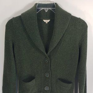 Fossil Button Front Green Wool Blend Knit Cardigan